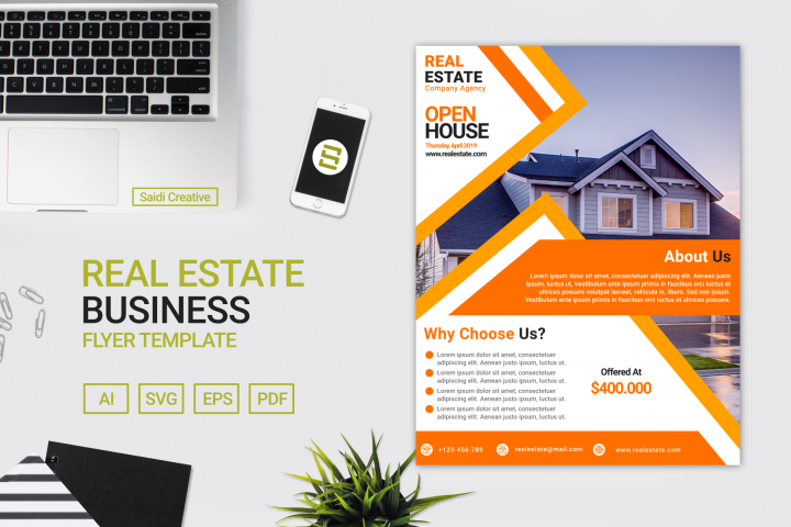 Real Estate Business Flyer Template Design with Amber Colour