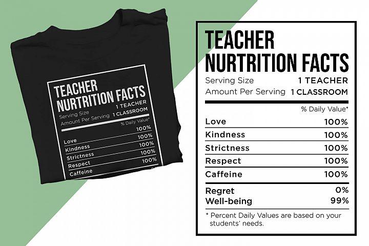 Teacher Nutrition Facts Printable