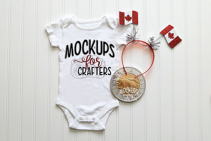 MOCK-UP - White one-piece baby outfit - Canadian themed