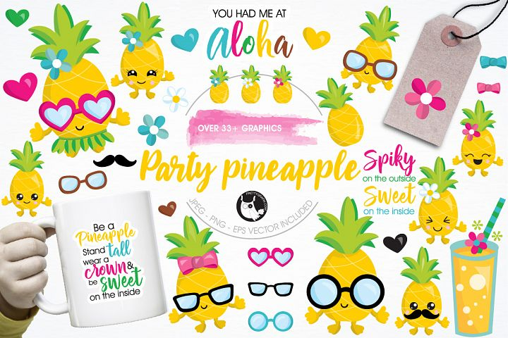 Pineapple party graphics and illustrations