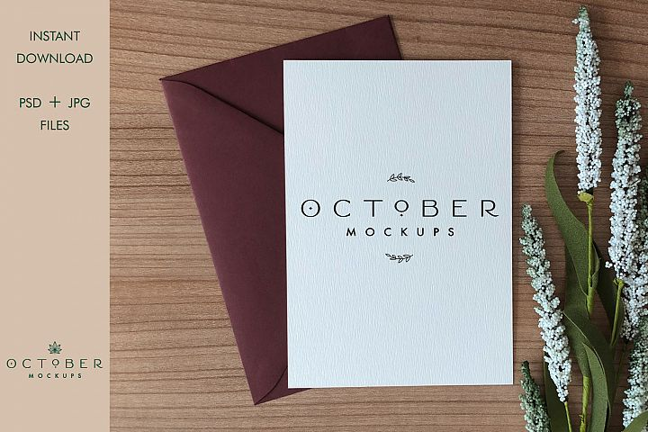 Mockup card & envelope | Greeting card | Love card mockup