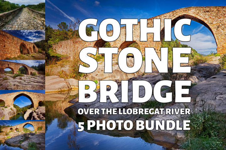 Gothic Stone Bridge Over The River Llobregat Photo Bundle
