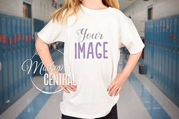 Youth Girls School T-Shirt Mockup, Child Shirt JPG