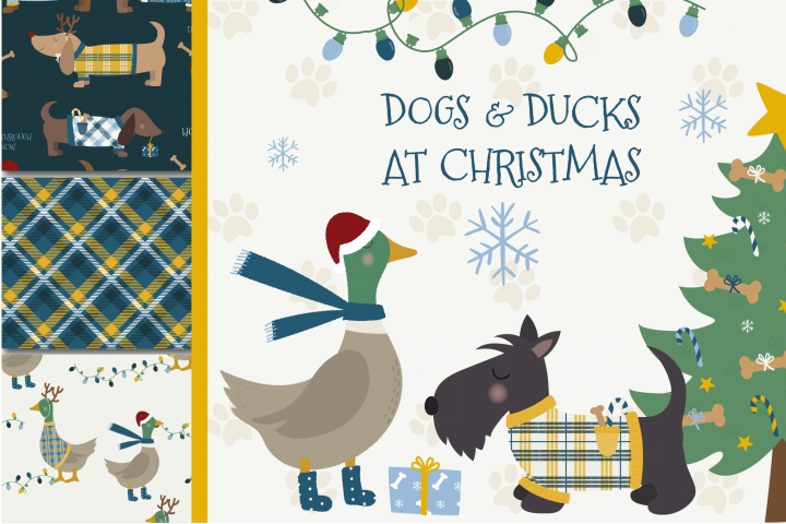 Dogs & Ducks at Christmas clipart & paper set