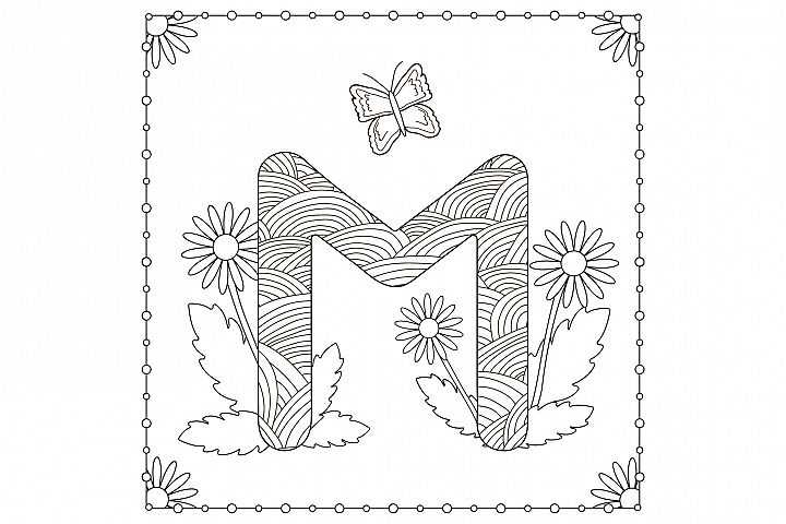 Letter M. Flowers. Coloring page.
