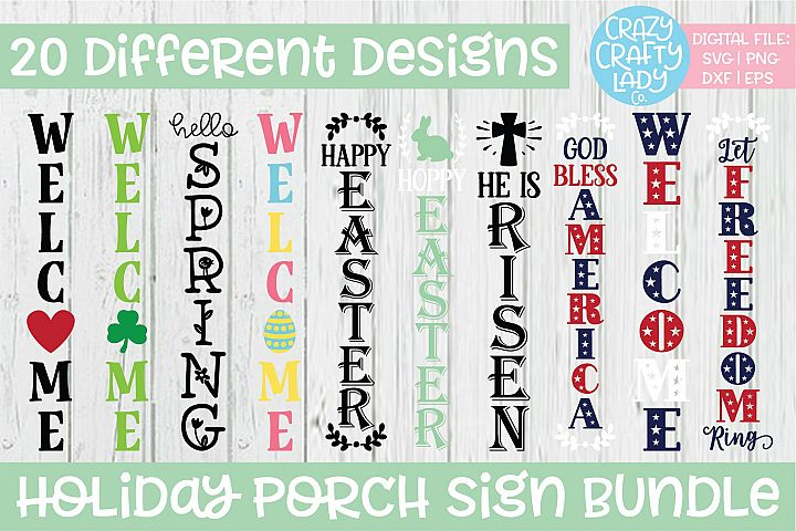 Holiday Porch Sign SVG DXF EPS PNG Cut File Bundle
