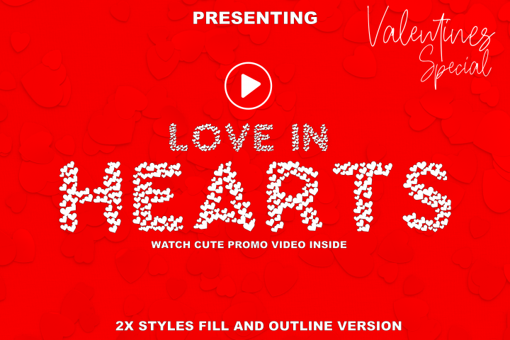 Love In Hearts - A Valentine Day Font