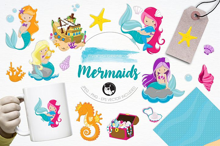 Mermaids graphics and illustrations