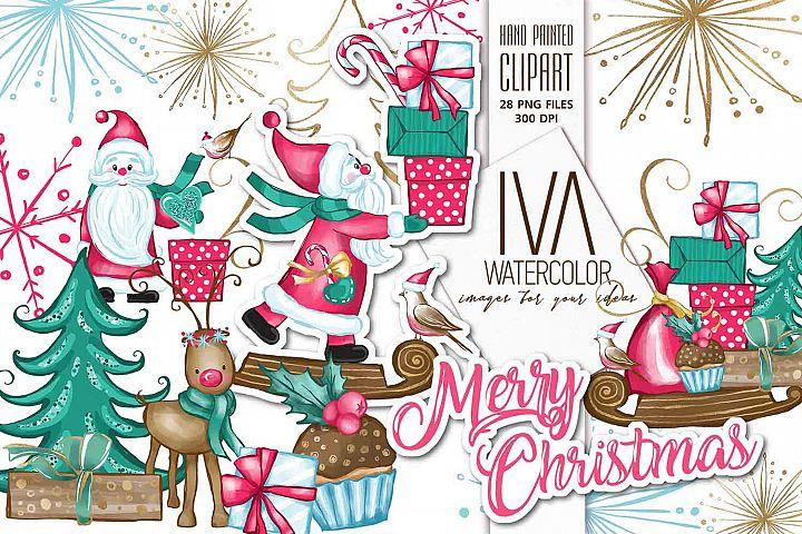 Winter Joy Handmade Christmas Clipart, Santa Claus Clipart