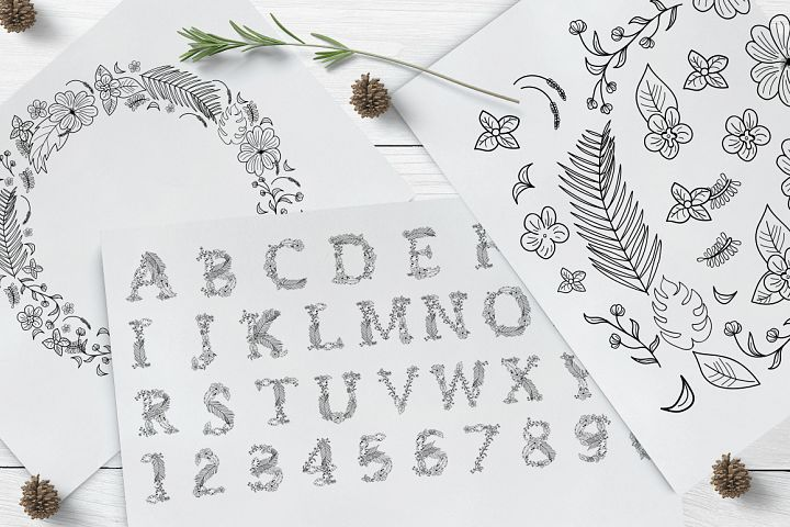 Monogram Floral Alphabet Letters & Numbers