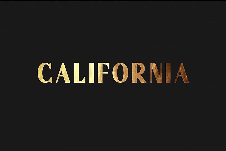 California. Sans serif family.