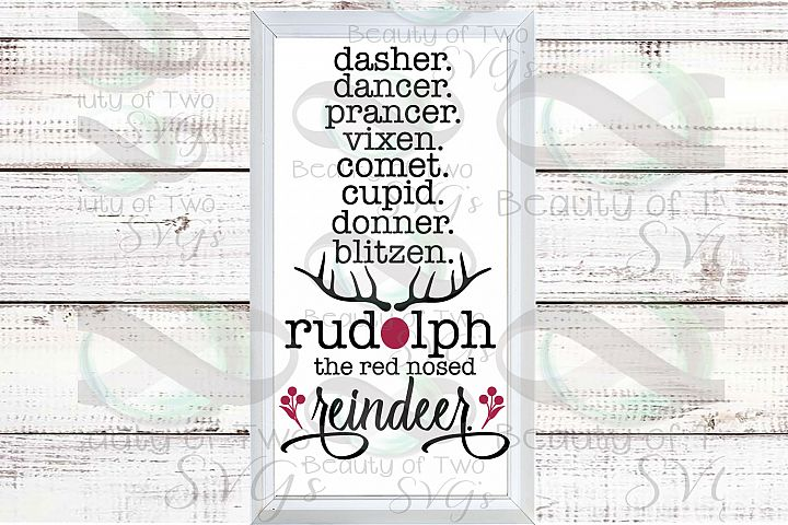 Santa Reindeer Farmhouse Christmas svg, Christmas sign svg