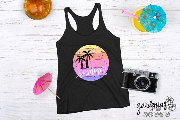 Summer SVG | Palm Trees SVG| Distressed | Circle | Textured