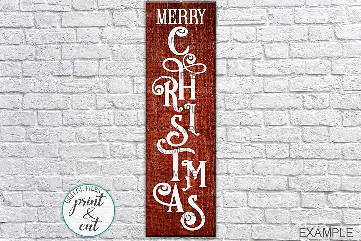 Door front Vertical Merry Christmas Porch sign digital file