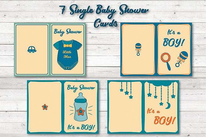 Baby Boy Shower Cards Printable, JPEG, PDF, Vector
