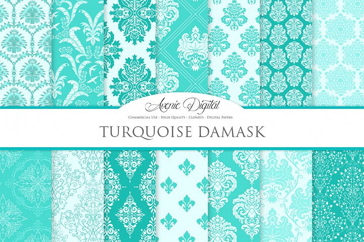 28 Turquoise Damask Patterns - Seamless Digital Papers Bundle