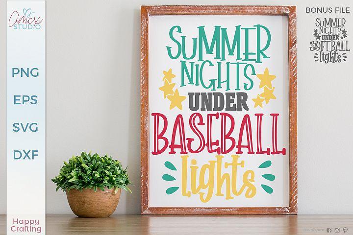 Summer Nights Under Field Lights - Baseball Softball Set