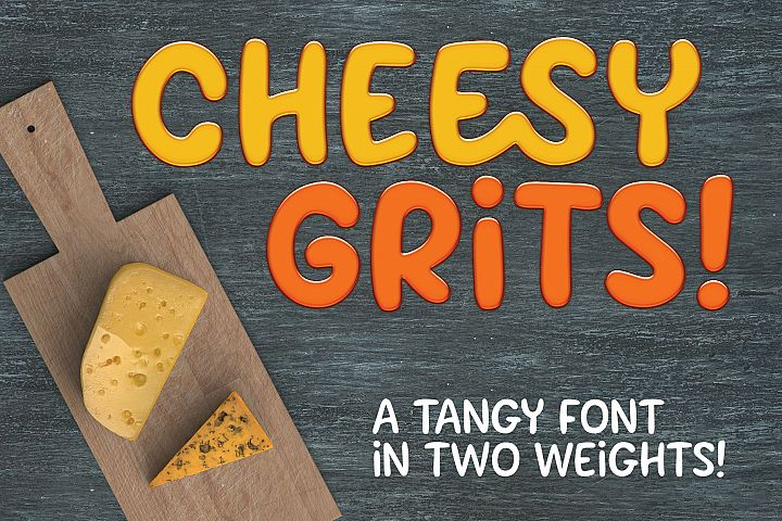 Cheesy Grits - a tangy font in 2 weights!