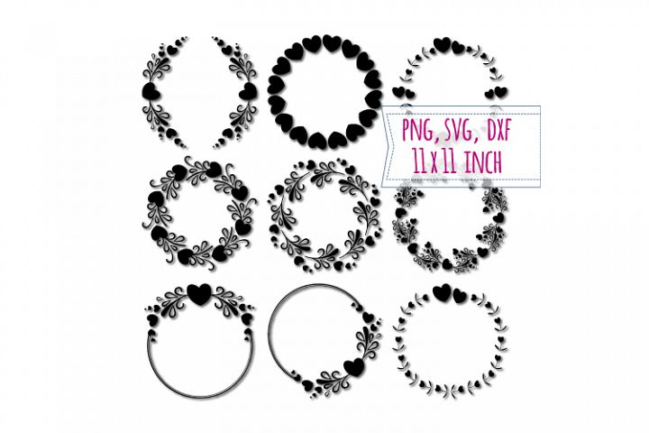 9 Hearts round frames. Love border. Round edging clipart