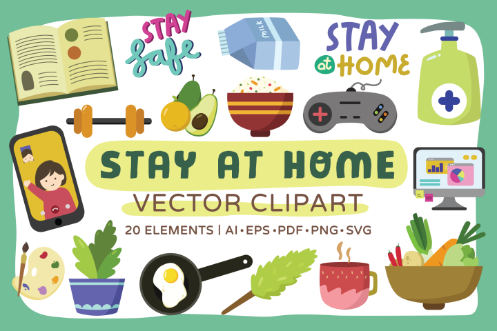 Stay at Home Vector Clipart Pack