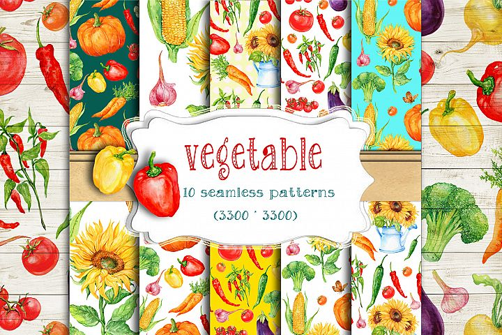 vegetable.seamless patterns. Watercolor Digital Paper,