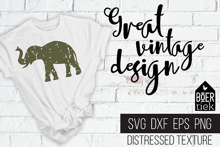 Vintage elephant, distressed texture, elephant SVG file