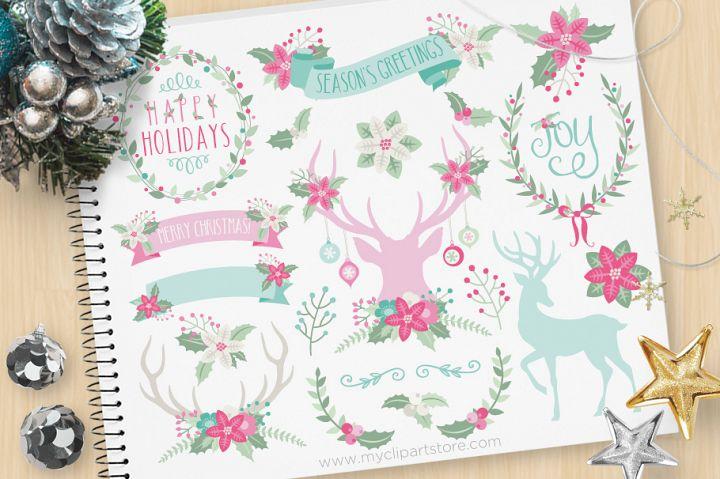 Rustic Christmas Elements 3, Reindeer - Vector Clip Art & SV
