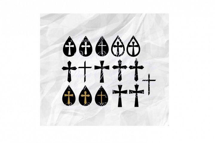 Cross Earrings Svg, Teardrop Earring Svg, Bundle Earrings