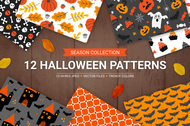 12 Halloween Seamless Patterns
