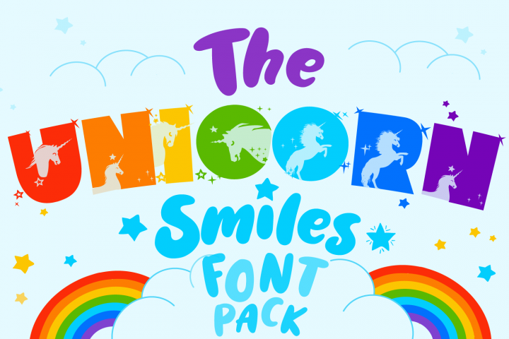 Unicorn Font | Unicorn Smiles Layered Font and Bonus Files