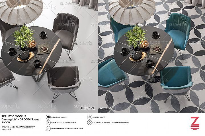 Interior PSD Mockup to change the FLOOR surface SM38