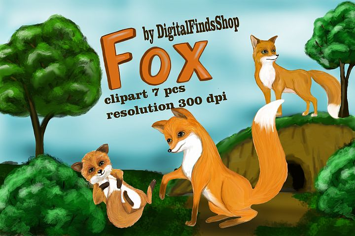 Fox clipart, animals clipart, cute animals, PNG, PDF