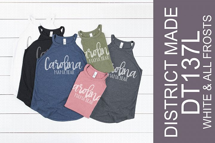 District Made DT137L Ladies Tri Rocker Tank White & Frosts