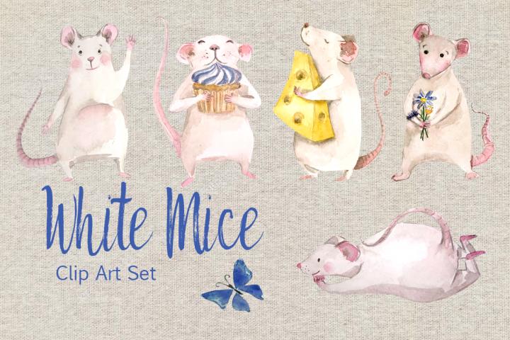 Watercolor White Mice Clip Art Set