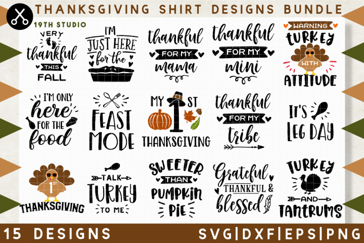 Thanksgiving shirt designs SVG Bundle | SVG DXF EPS PNG MB38