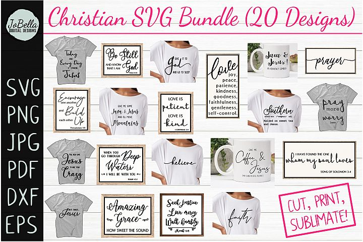 The Christian SVG Bundle, Sublimation PNGs, and Printables