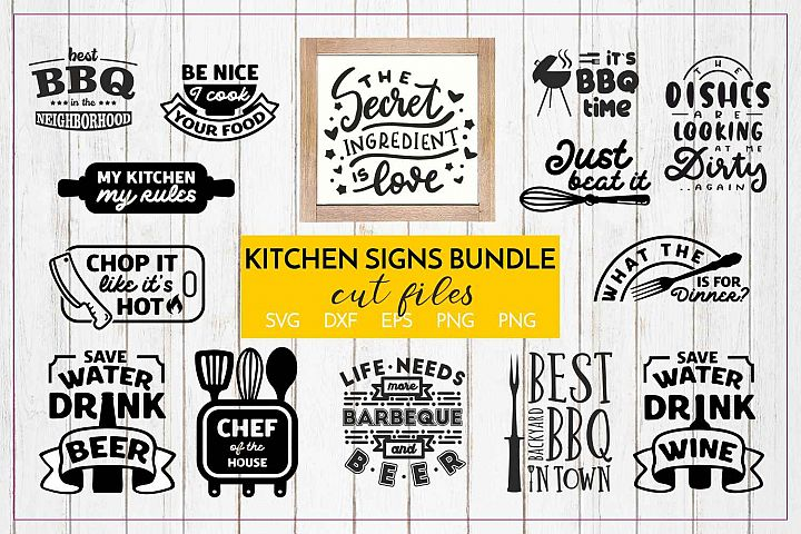 Kitchen signs quotes Bundle Cut files - SVG DXF EPS PNG JPG