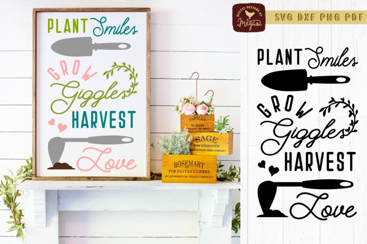 Plant Smiles Garden Wood Sign SVG DXF