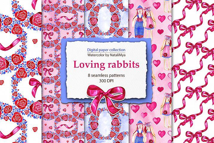 Loving rabbits digital papers