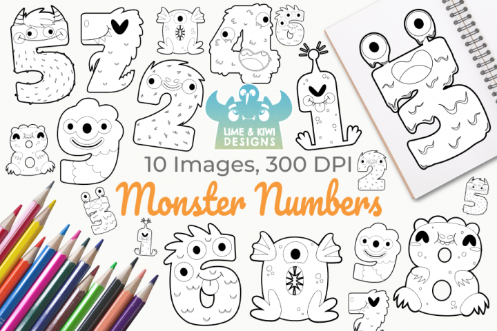 Monster Numbers Digital Stamps