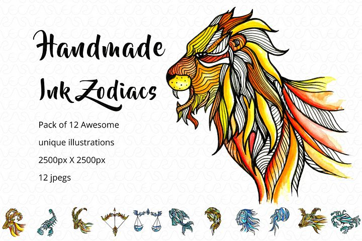 Handmade Ink Horoscope Zodiac Graphic Illustrations Set
