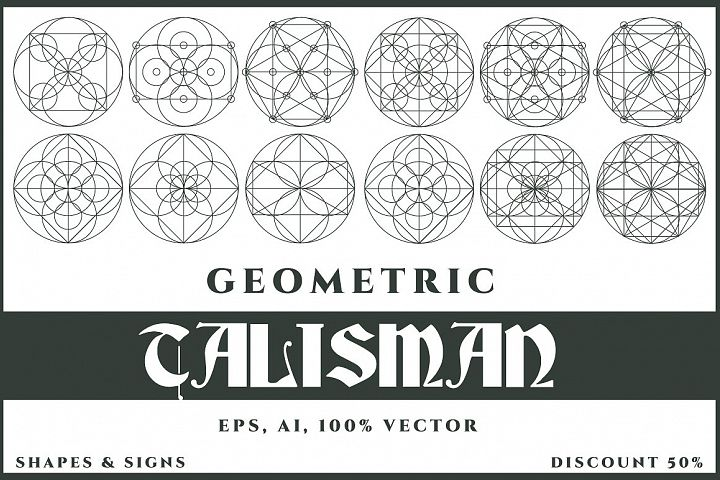 12 Talisman Geometric Vector Shapes