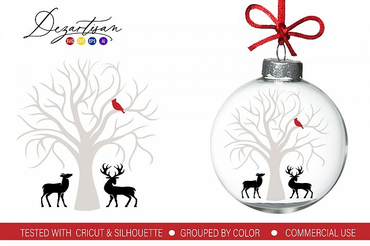 Christmas Cardinal Tree Deer SVG DXF cut fi