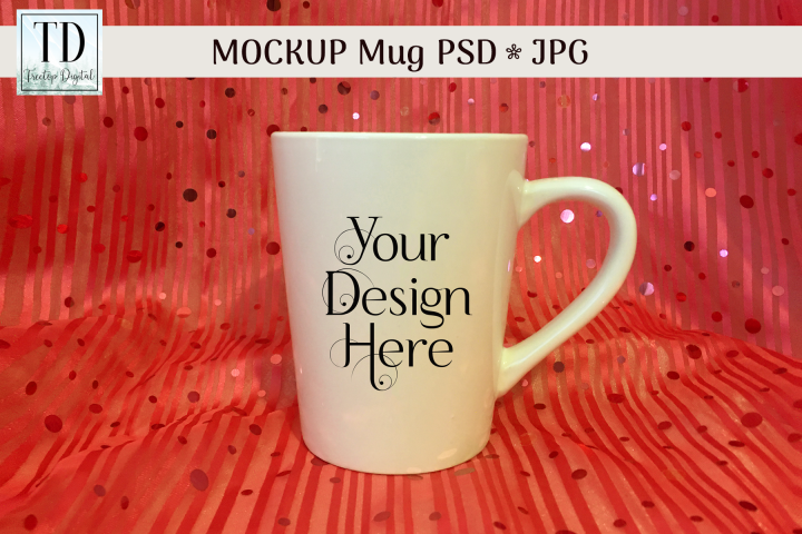 White Christmas Mug Mockup with Orange Sequins, PSD & JPG