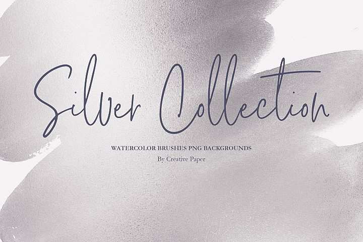 Silver Watercolor Brushes PNG Backgrounds