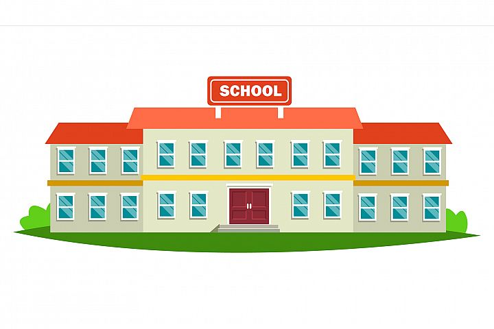 School Building Vector. Modern Education City Construction.