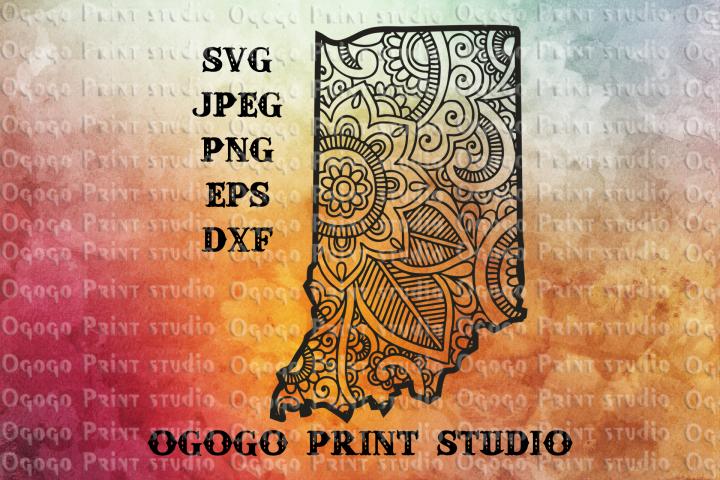 Indiana svg, Map SVG, Zentangle SVG, Mandala svg