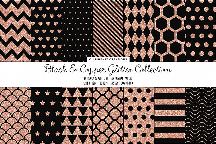 Black and Copper Glitter Pattern Papers