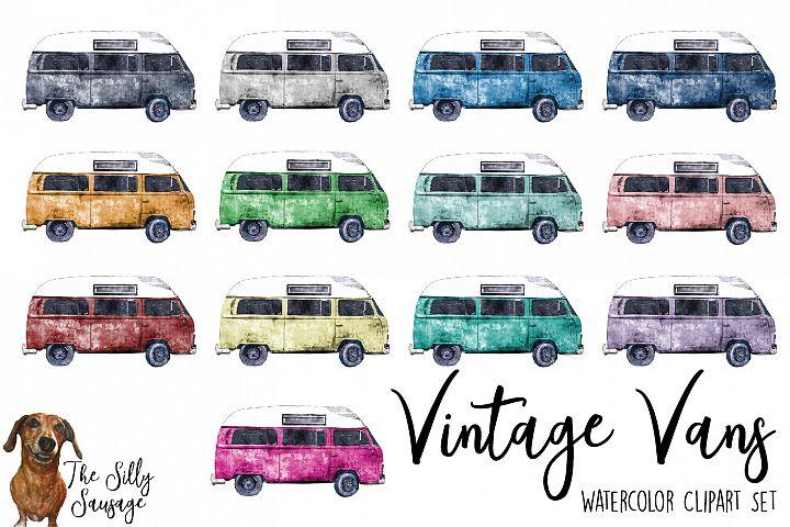 Vintage Vans Watercolor Clipart