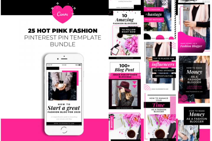 Fashion Blogger Pinterest Templates for Canva